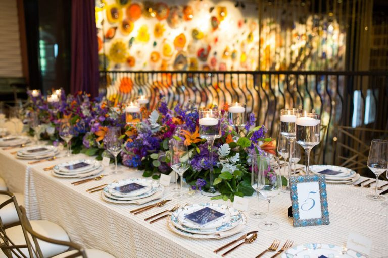 wedding table #5, decorated with violet flowers